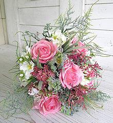 Dekorácie - svadobná kytica ružová - 9573428_