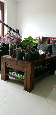 Nábytok - Dubovy stôl s policou - 9572527_