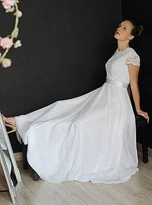 Šaty - Svadobné šaty s elastickým živôtikom a kruhovou sukňou - 9573179_