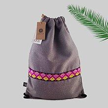 Batohy - Sivý vlnený unisex ruksak s farebnou stuhou VINITHA 39 - 9571139_