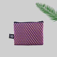 Peňaženky - Zero waste peňaženka na zips fialková brokátová VINITHA 23 - 9574026_