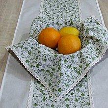 Úžitkový textil - Drobné zelené ružičky na režnej - obrúsok štvorec 40x40 - 9571596_