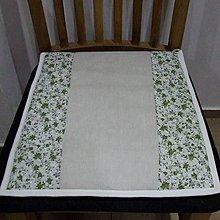 Úžitkový textil - Drobné zelené ružičky na režnej - podsedák na stoličku - 9573659_