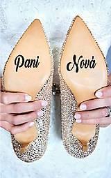 Iné doplnky - Nálepky na svadobné topánky - Nové priezvisko (Azúrovo modrá) - 9572927_