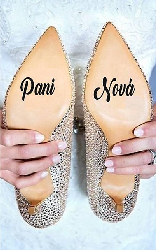 Nálepky na svadobné topánky - Nové priezvisko (Azúrovo modrá)