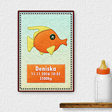 Detské doplnky - Grafika k narodeniu dieťaťa - plstená ryba 1 - 9572434_