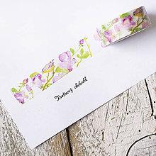 Papier - Washi pásky Kvety a listy 1,5 cm x 7 m (Washi páska Fialové kvietky a vtáky) - 9574901_