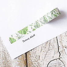 Papier - Washi pásky Kvety a listy 1,5 cm x 7 m (Washi páska Monstera) - 9574902_