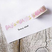 Papier - Washi pásky Kvety a listy 1,5 cm x 7 m (Washi páska Kvietky maľované) - 9574904_