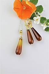 Sady šperkov - Achát náušnice a prívesok v pozlátenom striebre - 9575142_