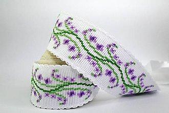 Opasky - Vyšívaný opasok (levanduľa) - 9574390_