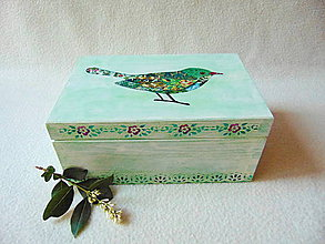 Krabičky - Drevená krabička Vtáčik - 9574444_