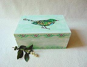 Krabičky - Drevená krabička Vtáčik - 9574445_