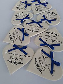 Darčeky pre svadobčanov - Maslové svadobné magnetky s mašličkou - 9574634_