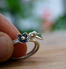 Prstene - 2v1 vtáčikový a kvietkový prsteň - 9574769_