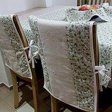 Úžitkový textil - Drobné zelené ružičky na režnej - návlek na operadlo stoličky - 9574156_