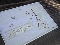 Papiernictvo - ...pohľadnica gratulačná s eiffelovkou... - 9576262_