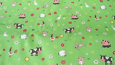 Textil - Detská v zelenom so zvieratkami š.140 - 9574714_