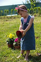 Detské oblečenie - Rastúca ľanová zásterka na 6-8 r - 9575708_