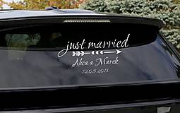 Iné doplnky - Svadobné nálepky na auto - Just married - 9574821_