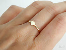 Prstene - 14k  zlatý prsteň srdce - 9578031_