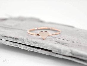 Prstene - 14k  zlatý prsteň srdce (ružové zlato) - 9578041_