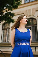 Šaty - Šaty ANNA královsky modré s vyšívaným páskem - 9576759_