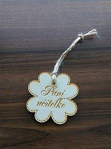Darčeky pre svadobčanov - Štvorlístok s nápisom (Pani učiteľke) - 9577043_