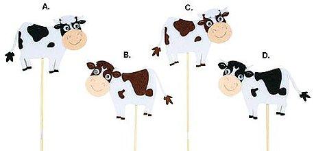 Iný materiál - Zápich Strakatá kravička 7,5 cm + špajla - 9577422_