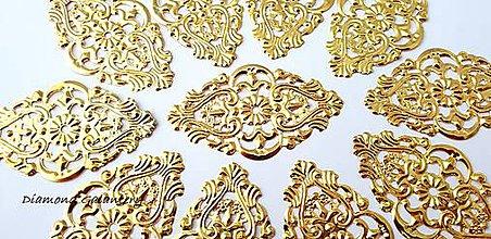 Komponenty - Filigrán 55x32 mm - zlatý - 9581539_