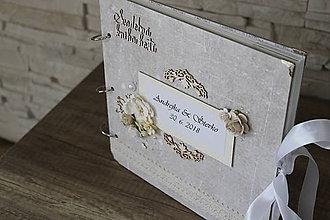 Papiernictvo - Svadobná kniha hostí v bielej, sivej, striebornej - 9578521_