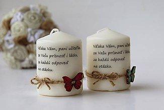 Svietidlá a sviečky - Duo dekoračných sviečok pre pani učiteľky - 9578613_