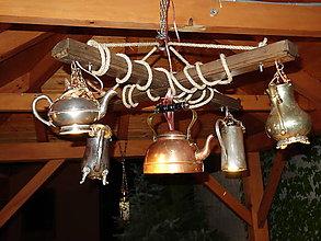 Svietidlá a sviečky - Luster z vintage čajníkov - 9579693_