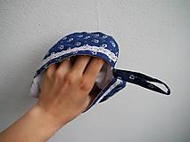 Úžitkový textil - Srdiečková chňapka (modro-biela) - 9581505_