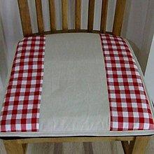 Úžitkový textil - Červené káro - podsedák na stoličku - 9579642_