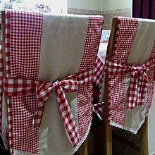 Úžitkový textil - Červené káro - návlek na operadlo stoličky - 9580037_