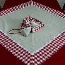 Úžitkový textil - Červené káro - obrus štvorec - 9580366_