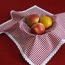 Úžitkový textil - Červené káro - obrus štvorec - 9580806_