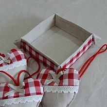 Úžitkový textil - Červené káro - košíček na drobnosti - 9581220_