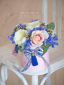 Dekorácie - Ružovo-modrá krabička - 9579325_