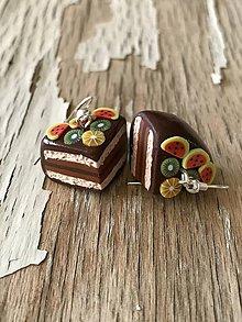 Náušnice - čokoládové tortičky s ovocím - 9580481_