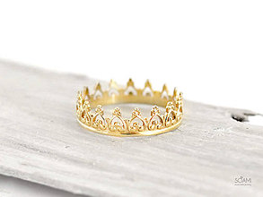 Prstene - 585/1000 zlatý prsteň korunka pre princeznú - 9581908_
