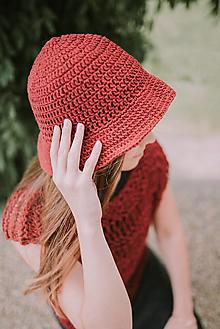 Čiapky - Letný klobúk-100% bavlna-red (Modrá) - 9582863_