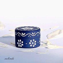 Krabičky - Modrotisková krabička na prsten - 9584370_