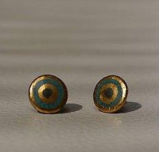 Náušnice - Keramické puzetky so zlatom - disk - 9584381_