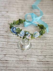 Ozdoby do vlasov - Detský kvetinový venček modrý - 9584220_