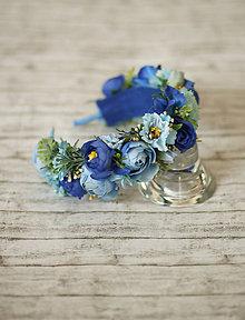 Ozdoby do vlasov - Kvetinová čelenka v modrom - 9584365_