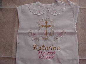 Detské oblečenie - košieľky do krstu (Ružová) - 9582302_