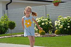 Detské oblečenie - Meggie letné šaty s kvetinou sivé - 9582789_