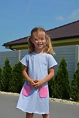 Detské oblečenie - Carina šaty grey/pink - 9582883_